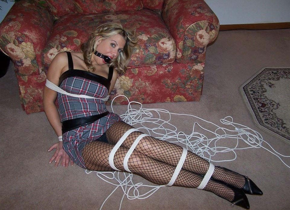 Women gang whore pantyhose bondage mini string